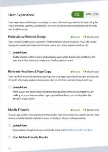 User experience page